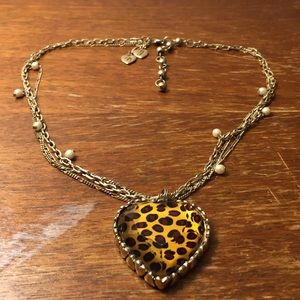 Betsey Johnson animal print heart necklace